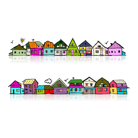 residential neighborhood: Abstract cityscape background, sketch for your design. illustration