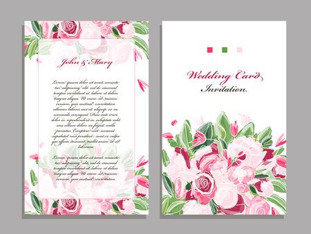 plantilla de tarjeta de boda, diseño floral. ilustración
