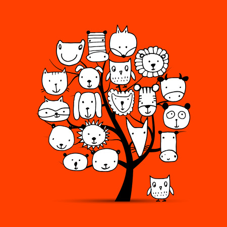 Art tree with animal faces, sketch for your design. illustration