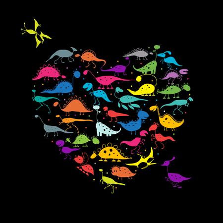 Funny dinosaurs, heart shape for your design. illustration