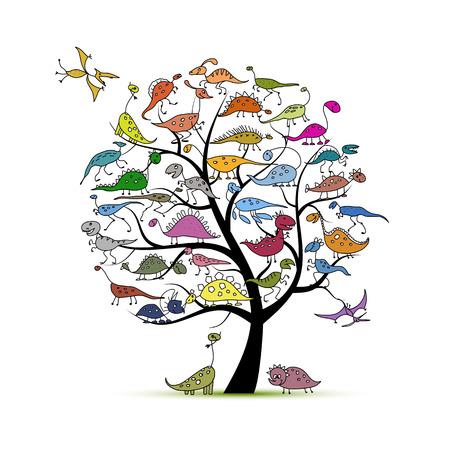 Funny dinosaurs, art tree for your design. illustration
