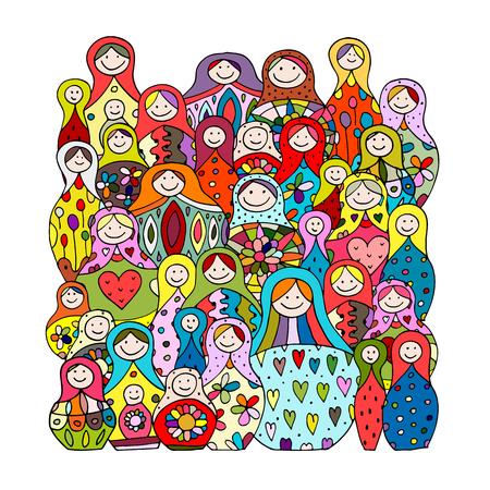 russian nesting dolls: Collection of russian nesting dolls, Matryoshka for your design. illustration