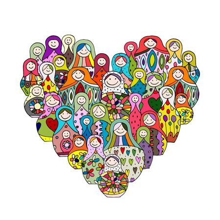 russian nesting dolls: Collection of russian nesting dolls, Matryoshka heart shape. illustration