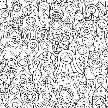 russian nesting dolls: Seamless pattern with russian nesting dolls, Matryoshka. illustration