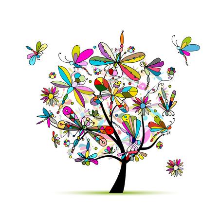 tree design: Dragonfly tree, sketch for your design. illustration