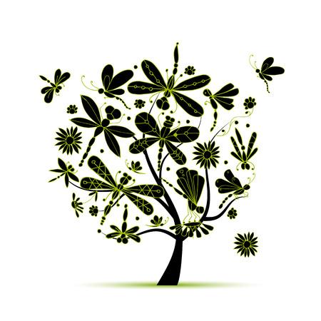 Dragonfly tree, sketch for your design. illustration