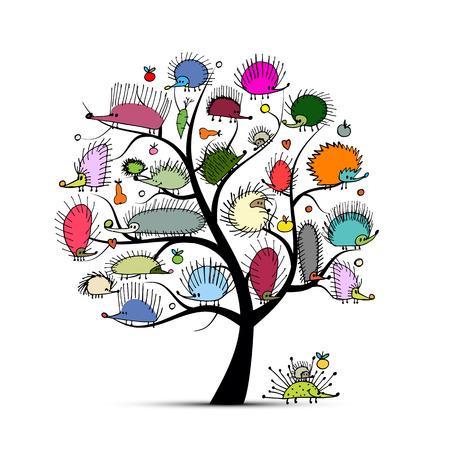 arbol genealógico: Árbol del arte con el erizo divertido, boceto de su diseño. ilustración