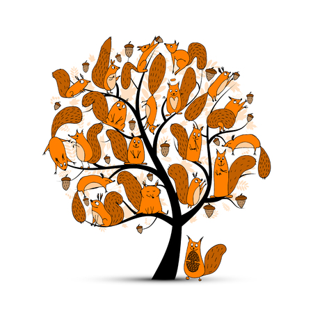 Funny squirrel family, art tree for your design. illustration