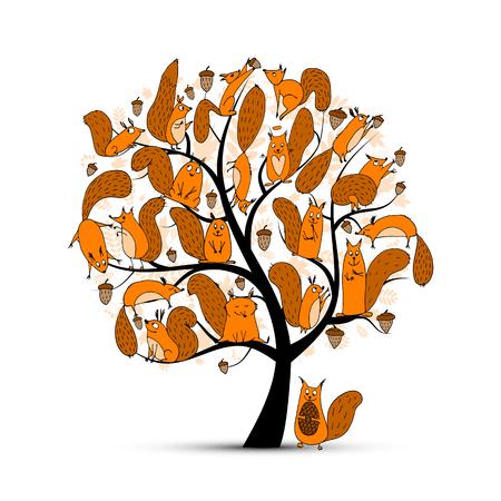 Familia de las ardillas divertido, árbol de arte para su diseño. ilustración Foto de archivo - 63269564