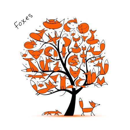 Fox family, art tree for your design. illustration