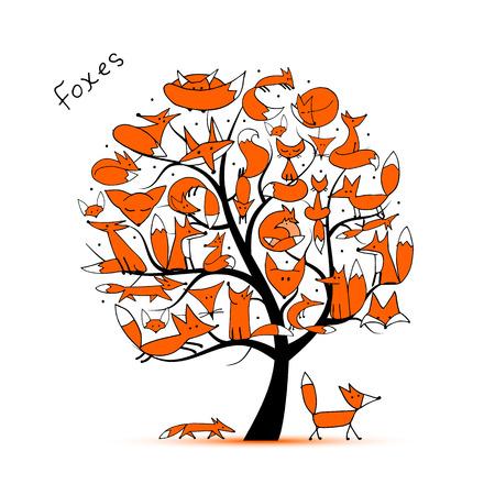 Fox family, art tree for your design. illustration
