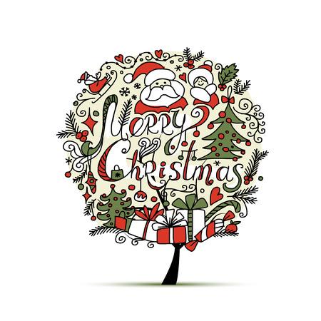 tree design: Christmas tree, sketch for your design. illustration