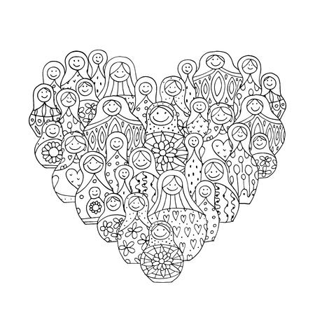 babushka: Collection of russian nesting dolls, Matryoshka heart shape. illustration