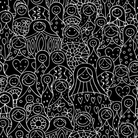 Nahtlose Muster mit russischen Schachteln Puppen, Matrjoschka. Illustration Standard-Bild - 63270430