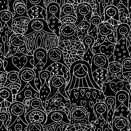 Seamless pattern with russian nesting dolls, Matryoshka. illustration