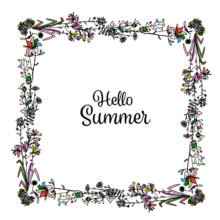 square frame: Floral frame, sketch for your design