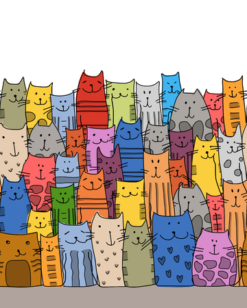 crowd tail: Funny cats family, seamless pattern for your design. illustration Illustration