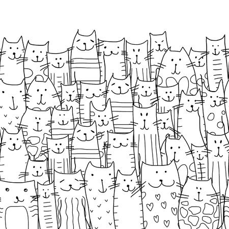 Divertente gatti di famiglia, seamless per la progettazione. illustrazione