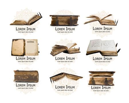 libros antiguos: establecer con los libros antiguos medievales para su diseño. ilustración