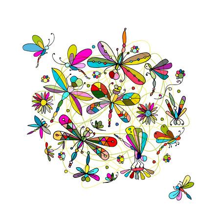 raccolta della libellula, schizzo per la progettazione. illustrazione