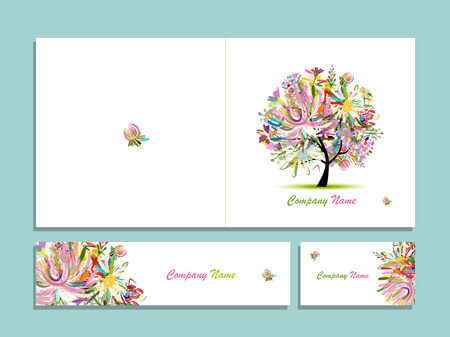 raccolta biglietto da visita, disegno astratto albero floreale. illustrazione
