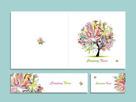 Colección de tarjetas de visita, diseño floral abstracto árbol. ilustración Foto de archivo - 63271555