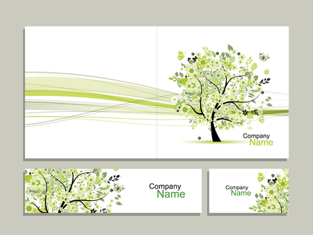 tree design: Business card collection, abstract floral tree design. illustration Illustration