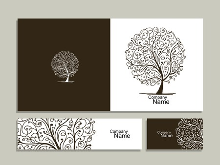 tree design: Business card collection, abstract tree design. illustration