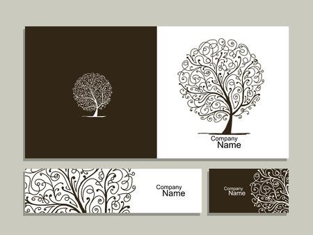 Collezione di biglietti da visita, disegno astratto dell'albero. illustrazione
