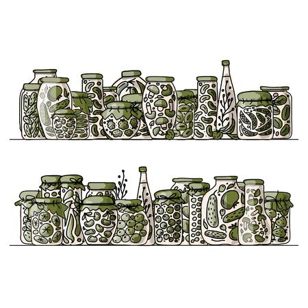 pickle: Set of pickle jars with fruits and vegetables, sketch for your design. illustration