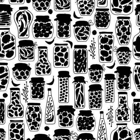 pickle: Seamless pattern with pickle jars fruits and vegetables. illustration Illustration