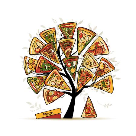 tomate de arbol: Árbol de pizza, boceto de su diseño. ilustración Vectores