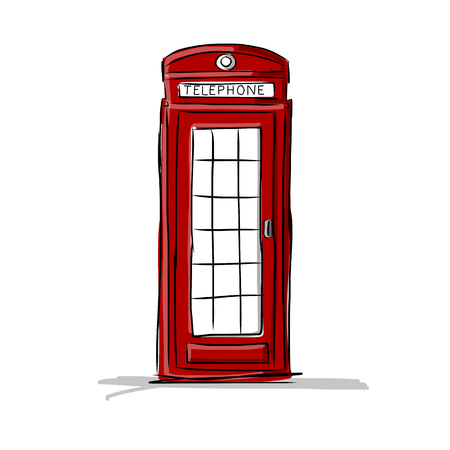 call history: London phone box, sketch for your design. illustration