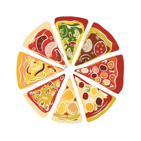 Pizza, boceto de su diseño. ilustración Foto de archivo - 63271302