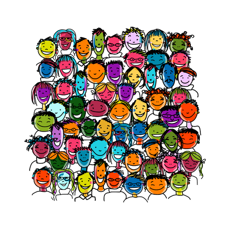 People crowd international, sketch for your design. illustration