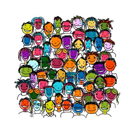 happy holi: People crowd international, sketch for your design. illustration