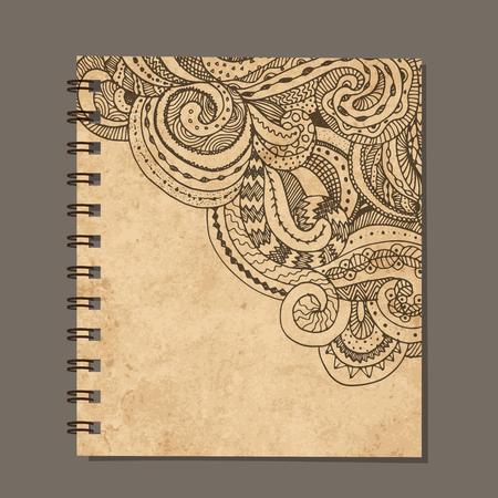 notebook design: Notebook design, zenart ornament. Old grunge paper. illustration