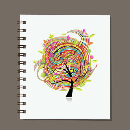 Notebook, disegno astratto albero colorato. illustrazione