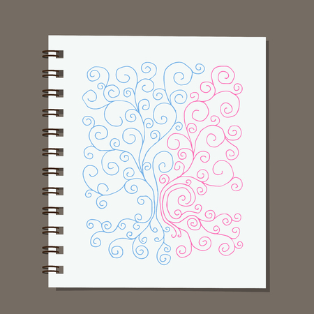 notebook design: Notebook design, abstract family tree with roots. illustration