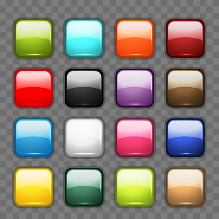 Set of glossy button icons for your design.  illustration