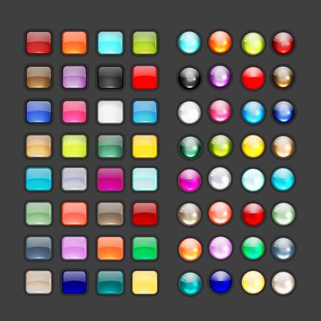 あなたの設計のための光沢のあるボタンのアイコンのセットです。 図  イラスト・ベクター素材