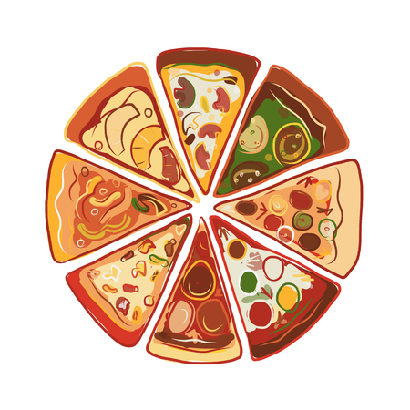 chunk: Pizza, sketch for your design. illustration