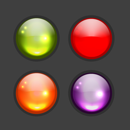 Set of glossy button icons for your design. illustration Illustration
