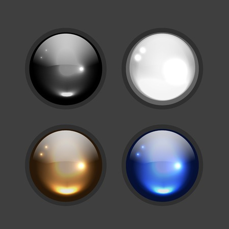 button icons: Set of glossy button icons for your design. illustration Illustration