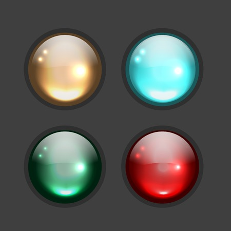 black button: Set of glossy button icons for your design. illustration Illustration