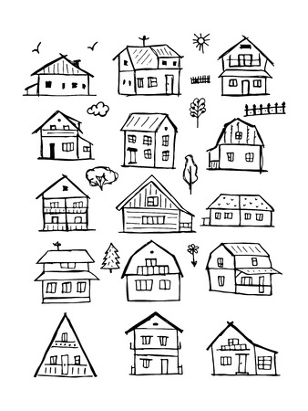 Art houses collection, sketch for your design. illustration