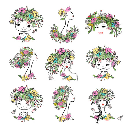 flower head: Female portrait with floral hairstyle, collection for your design. illustration Illustration