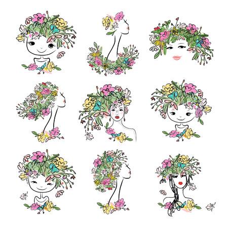 rosa negra: Retrato femenino con el peinado floral, colección para su diseño. ilustración