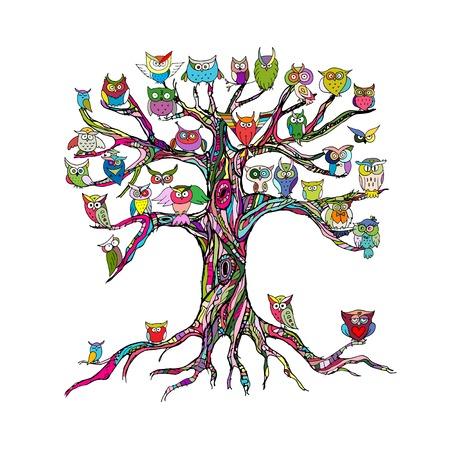 Oude boom met uilen voor uw ontwerp. vector illustratie