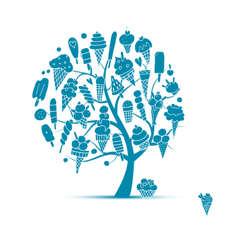 Ice cream tree, sketch for your design.